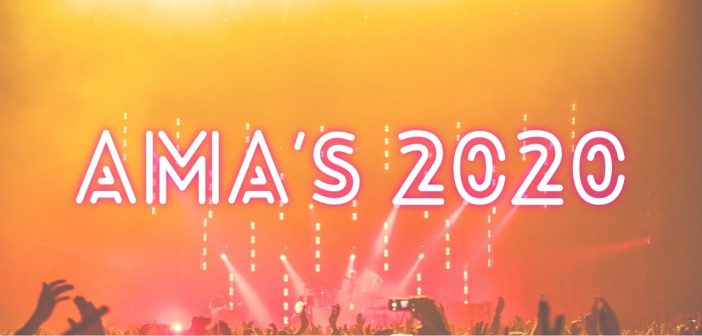 Pink and orange image of a concert from a crowd's perspective, with the text 'AMA's 2020'