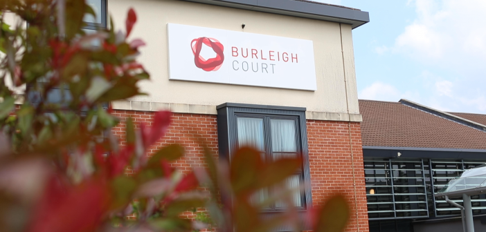 Burleigh court sign on building