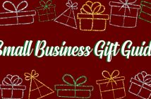glittery outlines of gifts on a red background with the text 'small business gift guide'