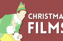 line drawing of an elf on a red background with the text 'Christmas films'