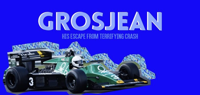 cut out image of racing car on a blue background with the text 'Grosjean's Escape from Terrifying Crash'