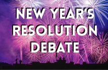 pink and purple fireworks with text saying 'New Year's resolution debate'