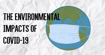 drawing of the earth wearing a face mask on a crinkled paper background, with the text 'the environmental impacts of COVID-19