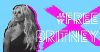 black and white photo of Britney Spears, next to the text '#freebritney' over a pink cross