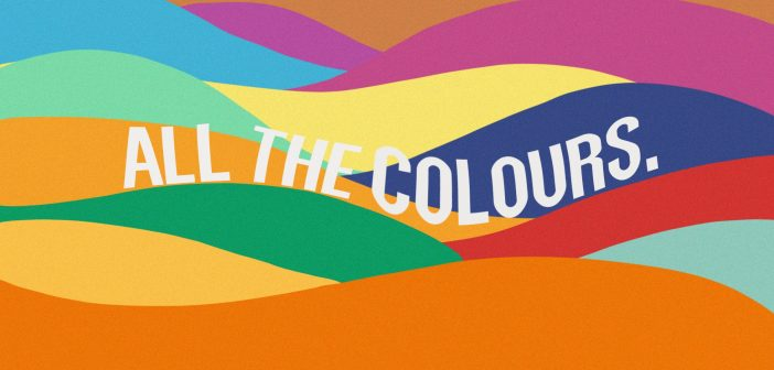 Background is a sea of colours with the text 'all the colours'