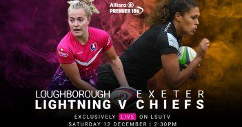 promo for Loughborough v Exeter rugby match, showing two rugby players with balls in front of a pink and orange smoke background