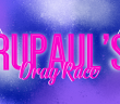 Pink text in the middle saying 'rupaul's drag race' on top of a purple blue background. two race flags are on either side of the text