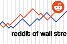 Text 'reddit of wall street' below a graph of two lines, one red, one blue, with the reddit logo at the head of one