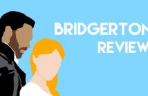 """Outline of two Brigerton characters, with the text """"Brigerton Review"""""""