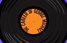 "Purple background with a large circular vinyl disc, where the centre of the vinyl is orange with the black text ""The Career of George Michael"" circling within the orange part"