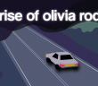 """Grey car driving on a road on a gloomy night, with the text, """"the rise of olivia rodrigo"""" in a white glow in the top third of the image"""