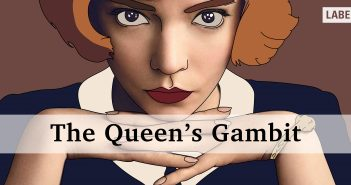 image of Beth Harmon from The Queen's Gambit resting on her hands. still from the series with the title running along the lower half of the image
