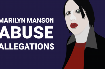 "Stylised drawing of Marilyn Manson with the text ""Abuse allegations"""
