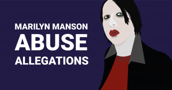 """Stylised drawing of Marilyn Manson with the text """"Abuse allegations"""""""