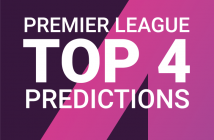 "Text saying ""Premier League Top 4 Predictions"" with a large ""4"" as a background"
