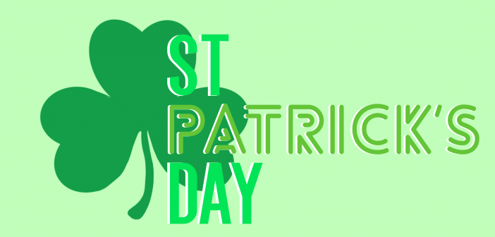 Green background with a green shamrock and the words 'ST PATRICK'S DAY'
