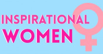 Blue background with pink female gender symbol and the dark pink words 'INSPIRATIONAL WOMEN'