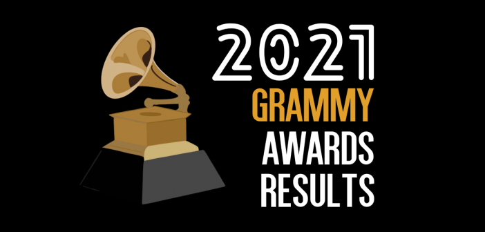 Black background with a Grammy award on the left and the text '2021 Grammy Awards Results' on the right, with the word 'Grammy' in Gold