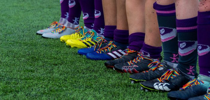 Rugby boots with rainbow laces
