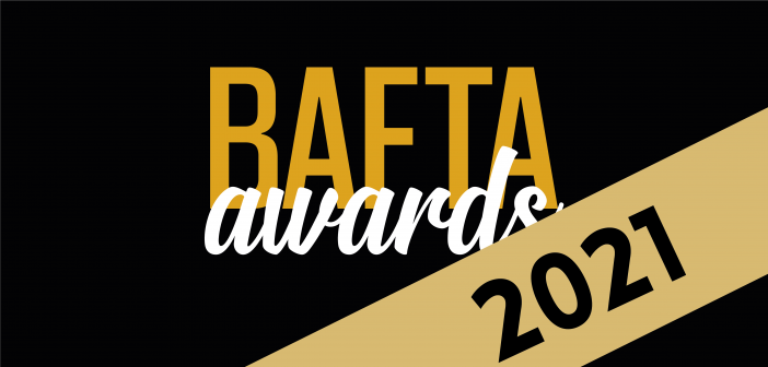 Black background with a gold diagonal strip at the bottom right corner. 2021 in black on the gold strip and the text saying bafta awards in the centre. bafta is written in gold and awards is written in a different white font