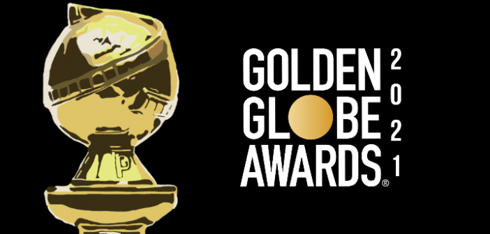 black background with white text spelling golden globe awards 2021. On the left of the text is an image of a golden globe award