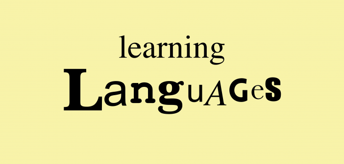 Beige background with the text 'leaning languages'