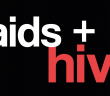 The title AIDS and HIV is written in white and red font and set upon a black background.