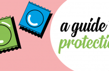 The title 'A guide to protection' is set upon a pink background with a blue and green condom packet next to it.