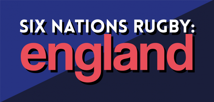 The title 'Six Nations Rugby: England' upon a navy and purple background.