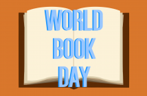 orange background with an open book in the centre and the words 'WORLD BOOK DAY' on it
