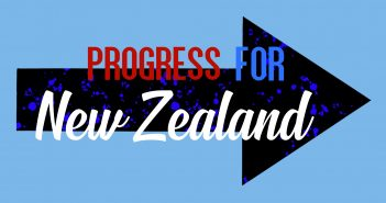 black arrow on a blue background, with progress for new zealand written over the top