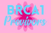 pink flower on pale pink background, with the words 'brca1 previvors' written on top in blue text
