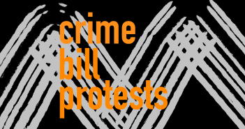 Orange text reading 'crime bill protests' on a black and grey background