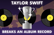 """Purple background with stars appearing in the light, with three record discs and a number 1 trophy in the middle, with the text """"Taylor Swift Breaks An Album Record"""" in white"""