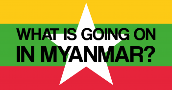 Text reading 'What's going on in Myanmar?' on the flag of Myanmar