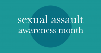 'sexual assault awareness month' written in white text over a dark blue circle on a light blue background