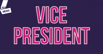 The word 'Vice President' is written in bright pink, set upon a dark purple background.