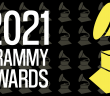 repeating pattern of the grammy awards trophy with the text '2021 Grammy Awards'