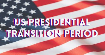 American flag with text 'US presidential transition period' overtop