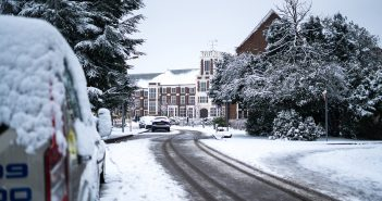 Loughborough University Hazlerigg building, snow-covered and from a distance