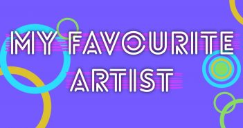 "Purple background with circles and the text ""My Favourite Artist"" in the foreground with pink lines behind the text"