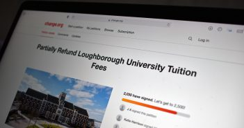 a web browser showing a petition page saying 'partially refund Loughborough University tuition fees'