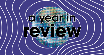 "Stylised image of the globe with the text ""a year in review"""