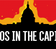silhouette of the US Capitol building on a red background with the text 'chaos in the capitol'