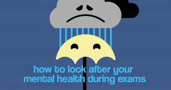 A rain cloud with a sad face with rain coming from underneath it. The rain is falling on top of a yellow umbrella.