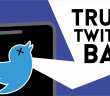 "Image of a mobile phone with the Twitter logo on a dark blue background with the text ""Trump Twitter Ban"""