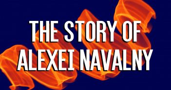 White text reading 'The Story of Alexei Navalny' on an orange ribbon effect on a dark blue background