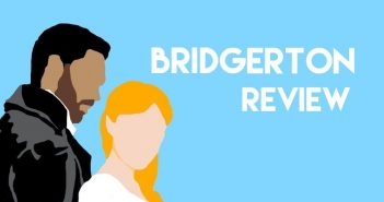 "Outline of two Brigerton characters, with the text ""Brigerton Review"""