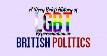 Text 'A (very brief) history of LGBT representation in British Politics' on a light pink background