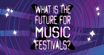 "Purple/Blue background with lines going round in a circle, 8 diamond sparkles, and the centred text ""What is the Future for Music Festivals?"" in white with a black X displayed behind the text"